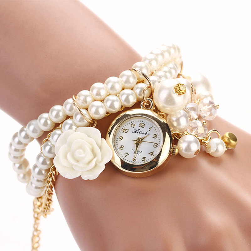 Women Faux Pearl Rhinestone Watches Quartz Analog Bracelet Wrist Watches Snow 2015 New Brand 5 Style Dress Watch High Quanlity(China (Mainland))