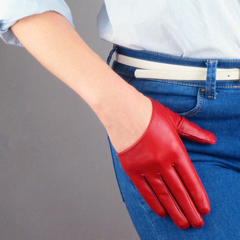 Women women's short leather gloves fashion half-finger gloves PU gloves