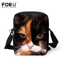 Forudesigns casual bolsa feminina 3d gato cruz-corpo sacos para meninas criança pequena bolsa de ombro crianças mensageiro mochila infantil(China)