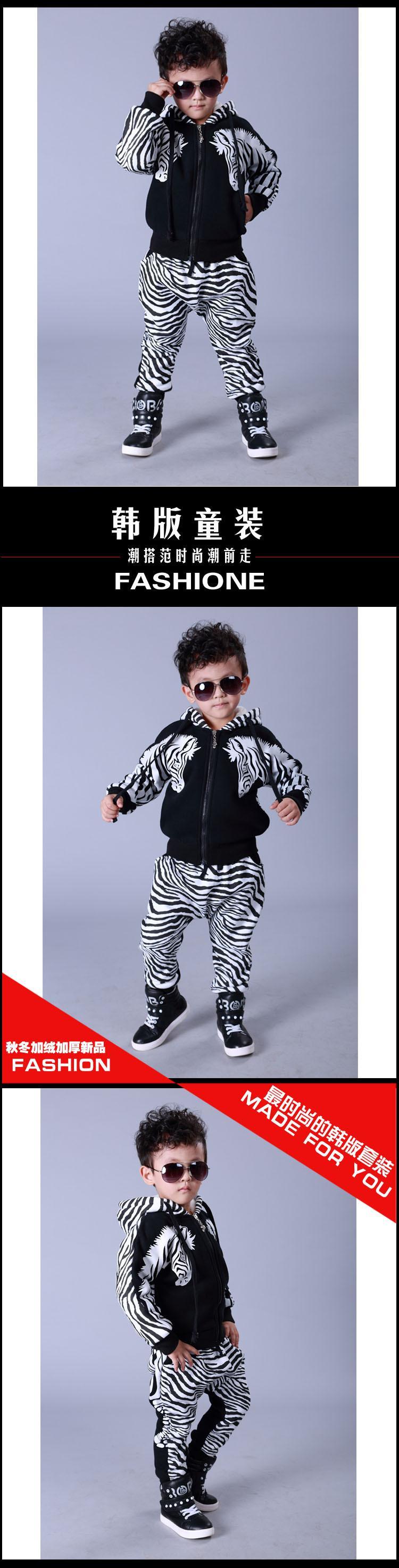 Скидки на 2015 Зимние Мальчики спортивные костюмы наборы Плюс бархат толстые теплые балахон и брюки детская одежда 2 шт. набор Зебра печать