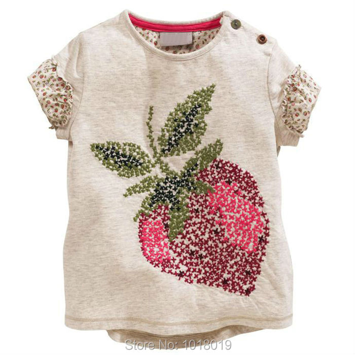 18M~6T New 2015 Quality Cotton Baby Girls Clothing Toddler Children Kids Clothes Branded Tees T-Shirts t Shirts Summer Outerwear(China (Mainland))