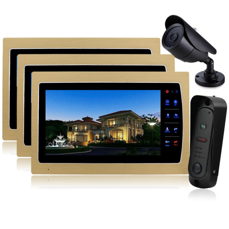 YSECU Video Door Phone Intercom 10 LCD Color Doorbell Intercom Kit 1 Camera 3 Monitor DHL Dropshipping Wholesale Doorphone <br><br>Aliexpress