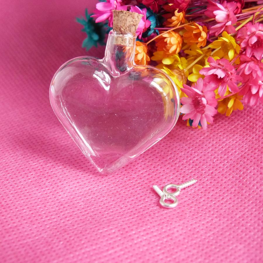 new arrvial 100pcs---40x35mm big heart shape clear glass wishing bottle &amp; cork &amp; eyehooks for diy charm necklace pendant <br><br>Aliexpress