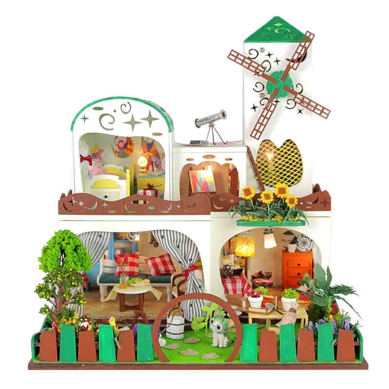 Diy Doll House Villa Model Include Furniture Led Miniature 3D Puzzle Wooden Dollhouse Creative Birthday Gifts Toys Dollhouses - BOA 's store
