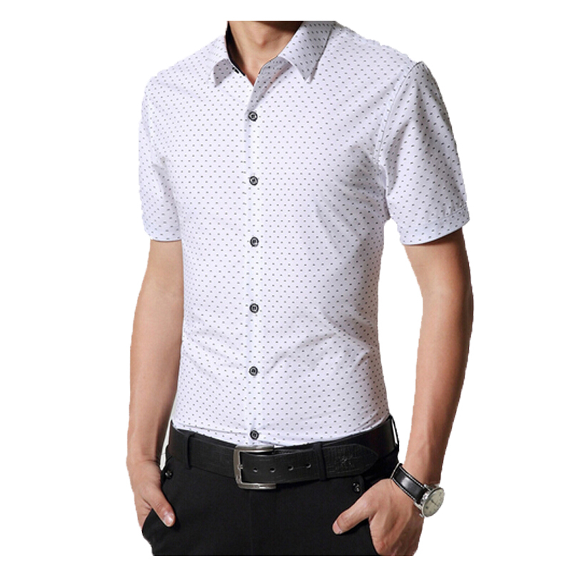 Men dress shirt brand short sleeve lapel mens polka dot for Mens polka dot shirt short sleeve