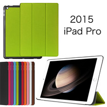 Ultra slim stand PU leather  case For  ipad pro 12.9 inch tablet case For Apple wake up cover free shipp+screen film+stylus(China (Mainland))