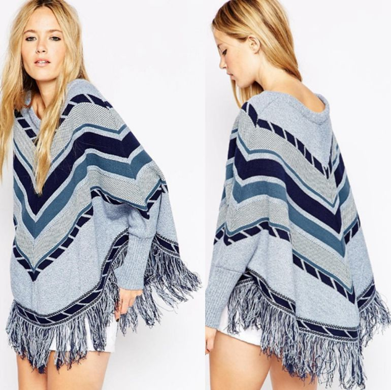 Womens Sweater New Fashion Spring Autumn Winter Poncho Tassel Cape Knitted Women Pullover Womens Capes and Ponchoes NP-SD030(China (Mainland))