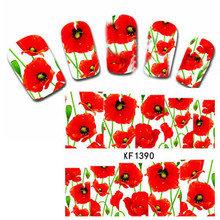 Full Nail Water Decals Sticker Hot Red Flower Pattern XF1390