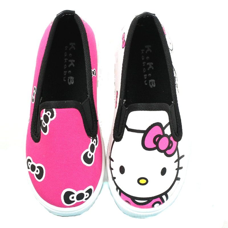 Brand Kids Casual Sneakers Girls Hello Kitty Canvas shoes boy fashion loafer children soft shoes size 21-36(China (Mainland))