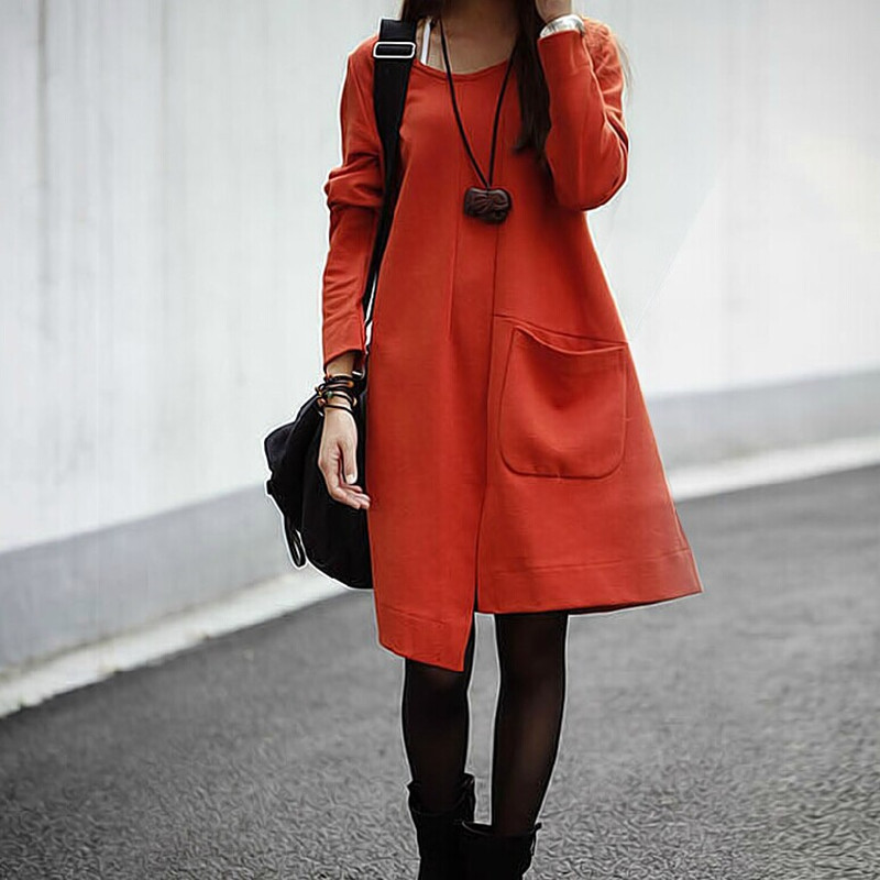 Women Autumn Winter Casual Cotton Clothing Solid Round