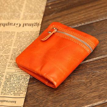 Small size Genuine Leather Wallet Women Waxed Leather Wallet with zipper pocket Mini small oiled Leather purse Card Holder Case