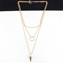 Hot Fashion Jewelry New Punk Necklace Gold Multi Layer Necklace Sexy Rivet Pendant Necklace