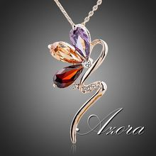 Magic Snake 18K Rose Gold Plated SWA ELEMENTS Austrian Crystal Jewelry Pendant Necklace FREE SHIPPING!(Azora TN0089)