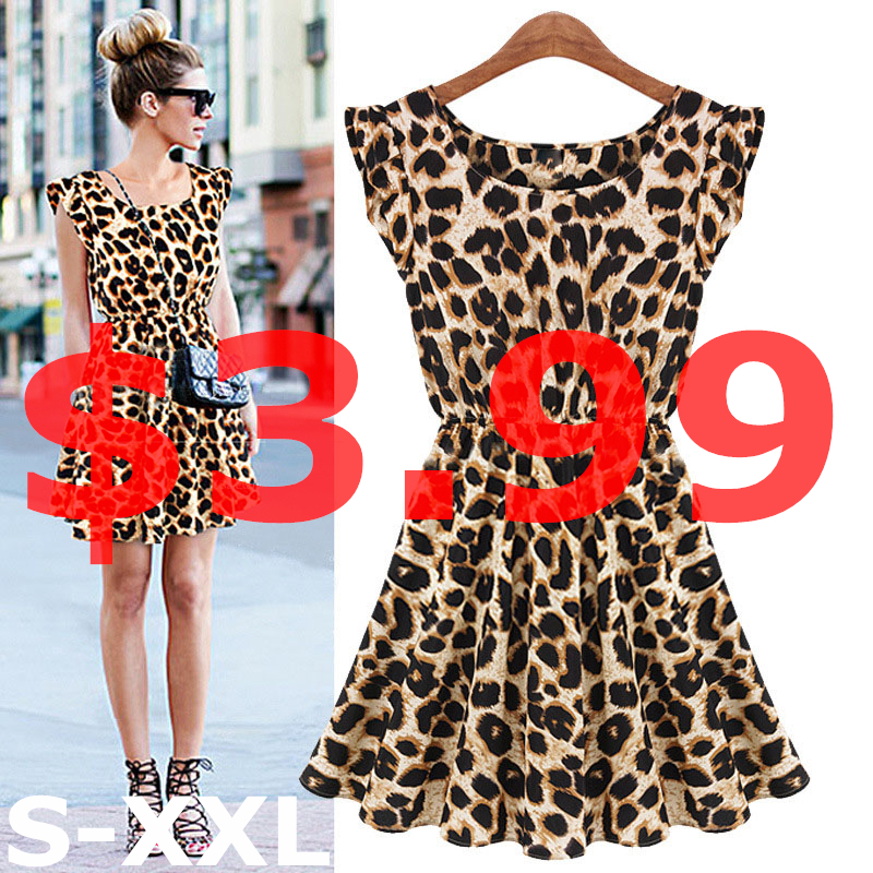 New 2015 Hot Sale Sexy Leopard Women Dress Casual Sleeveless Ruffles Vestidos Dresses Femininos Women Clothing Girl Sundress(China (Mainland))