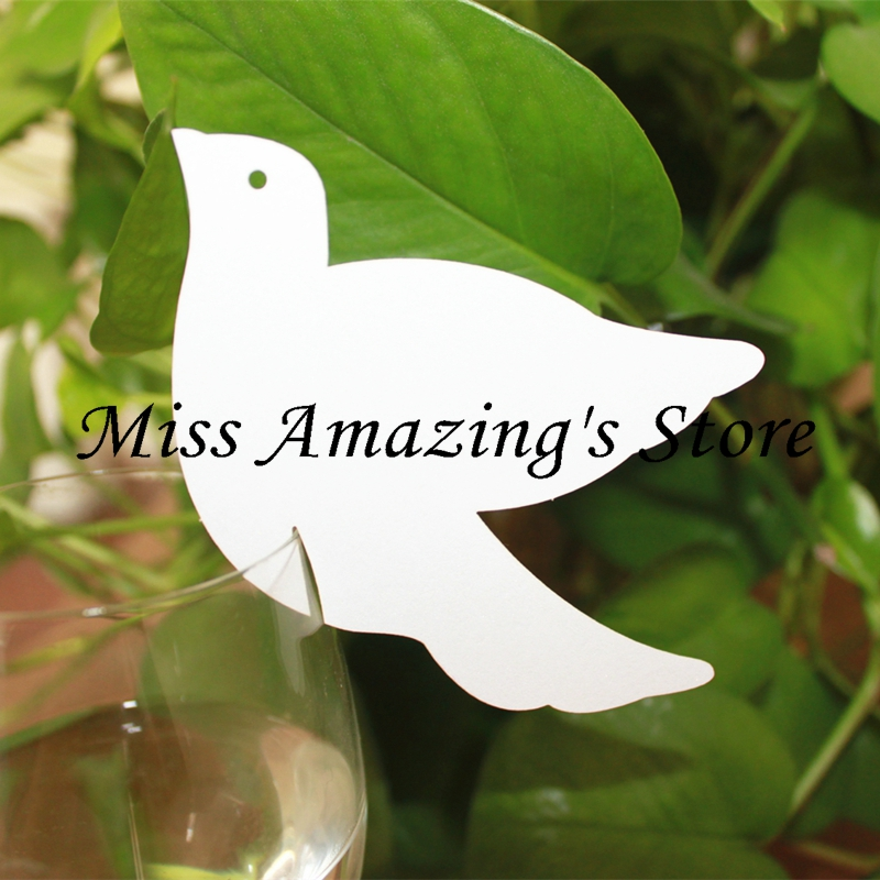 50* Laser Cut Peace Dove Wedding Baby Shower Birthday Table Dinner Party Decorations Wine Glass Card Name Place Cards(China (Mainland))