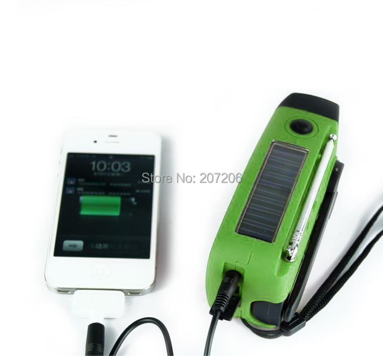 Crank Up Battery radio receiver solar charger with led lamp free shipping