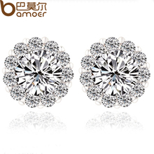 High Quality Round Design AAA+ Swiss CZ Crystal Platinum Plated Stud Earring for Wedding Romantic Bamoer Jewelry YIE006(China (Mainland))