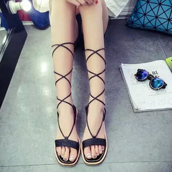Women shoes summer 2015 flats high leg sandals sexy hot gladiator sandalias cross-tied black party birthday gift - Don't even think about it store