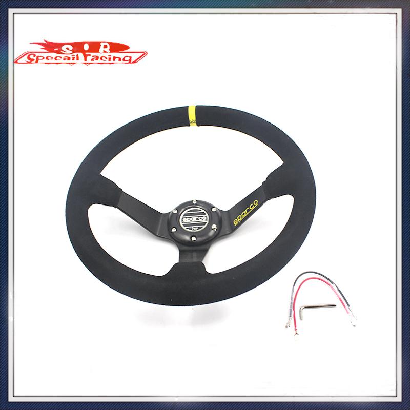 Speciale race- car racing sparco stuur voor de meeste auto 14 inch 350mm diep maïs drifting stuurwielen/suède(China (Mainland))