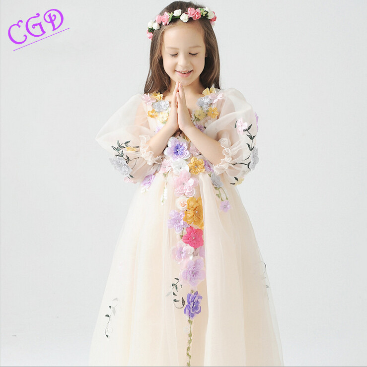 2016 flower font b girl b font dress wedding party new style Flower Fairy v neck