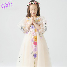 2016 flower girl dress wedding party new style Flower Fairy v-neck princess dresses children brand clothing kids formal clothes