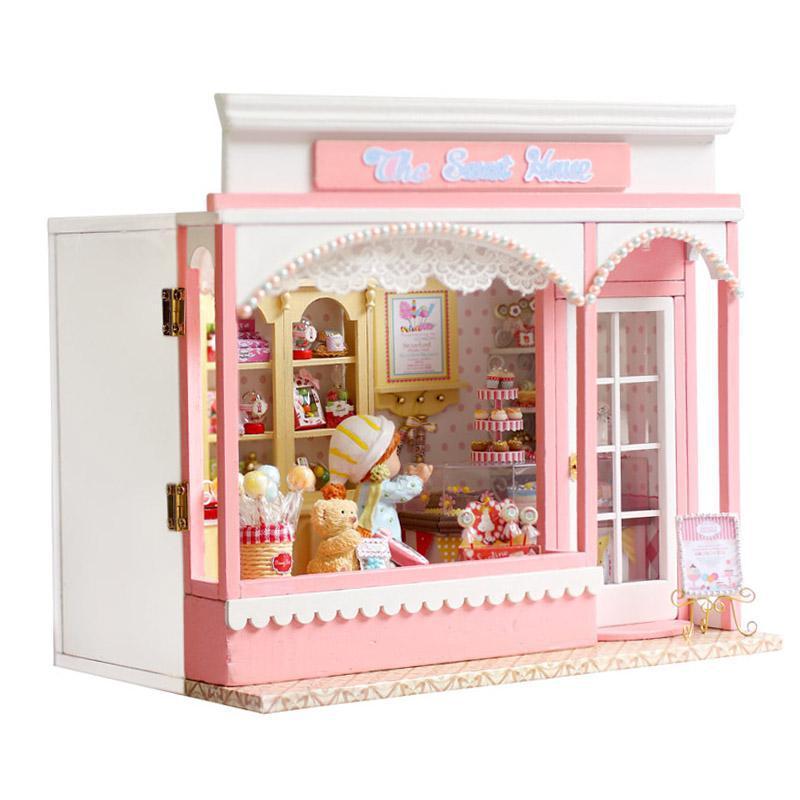 Doll home furnishings miniatura diy doll homes miniature dollhouse wood handmade toys for kids birthday present  E002