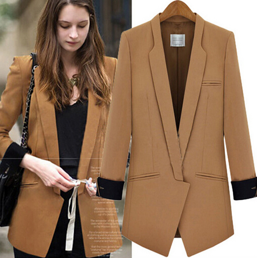Fashion Brown Tweed Blazer Womens