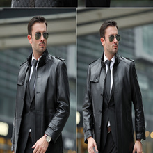 2016 Men's Fashion Solid Standard With Pocket Sheepskin Jacket Men's Mandarin Collar Genuine Leather Trench