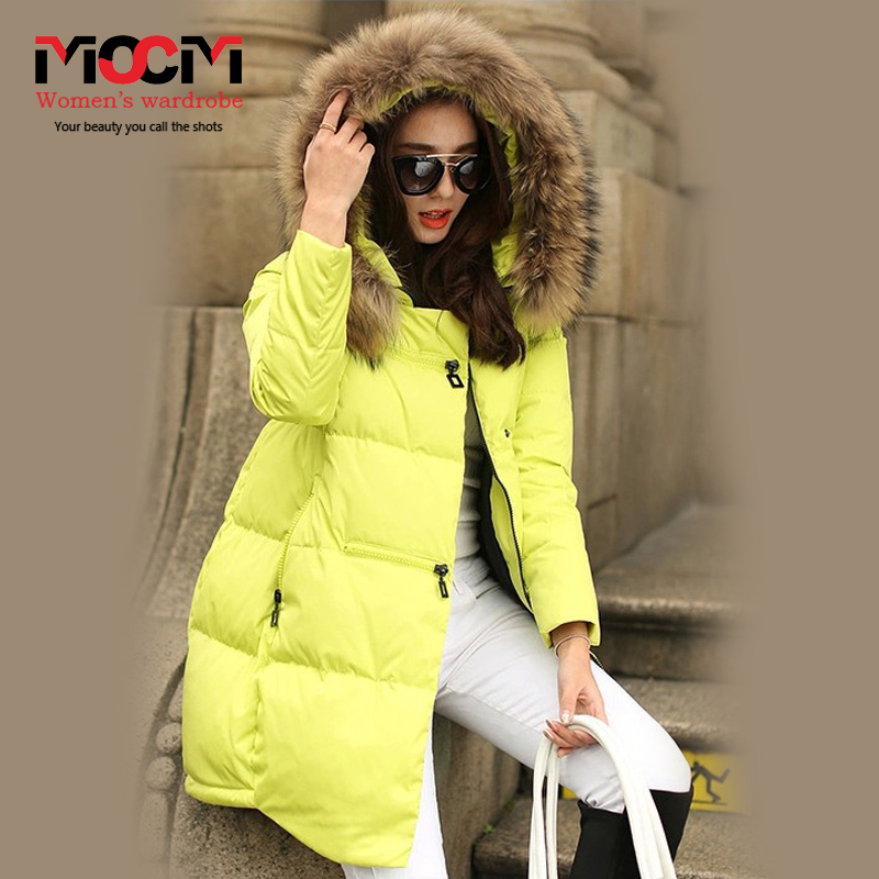 Women winter Europe and America fur collar thick warm loose casual solid long down coat jacket plus size free shipping HS03(China (Mainland))