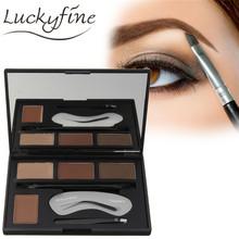 4 Colors Eye Makeup Set Professional Eyebrow Enhancer Powder Palette With Makeup Brush Tweezer Eyebrow Stencil For Beauty Makeup(China (Mainland))