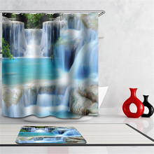 3d Shower Curtain Waterfalls Scenery dolphins beach sea bathroom curtain Fabric creative scenery blue bath curtain with hooks(China (Mainland))