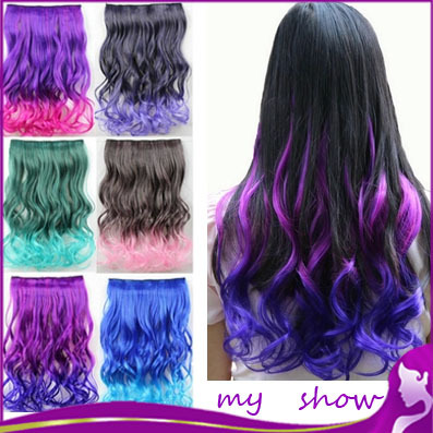 One Piece Colored Ombre Hair Extensions, Colorful long wave Hair, Clip in Synthetic Hairpieces16 color 18 inch,free shipping<br><br>Aliexpress