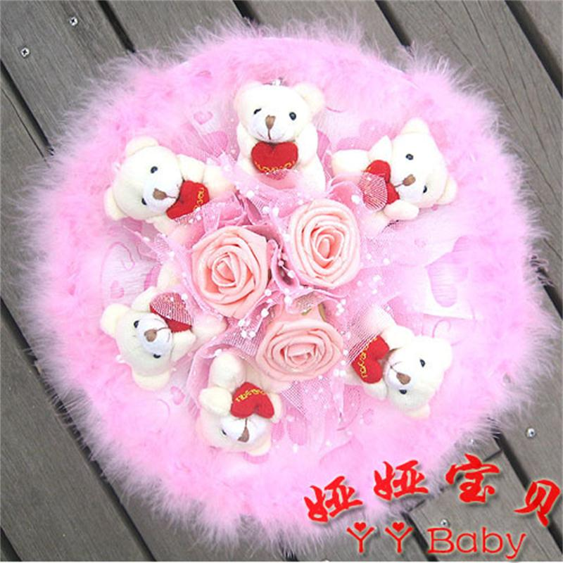 Soft Plush Toy Bouquet Teddy Bear Bouquet Cartoon Doll with PP Cotton Rose Valentine/Graduation Gift Pink(China (Mainland))