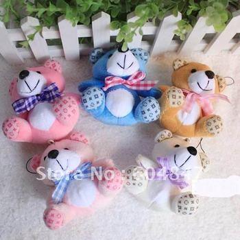 Free shipping 30pcs/lot, Stuffed toys ,Soft Plush,Teddy Bears, Pendant 2 colors use for Cellphone, Bag, Key chain Wholesale