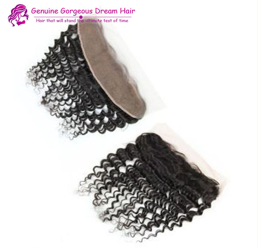 Гаджет  6A Virgin Hair Deep Curly Lace Frontal 13X2Brazilian Deep Curly Frontal Lace Closure With Bleached Knots Baby Hair FastShipping None Волосы и аксессуары
