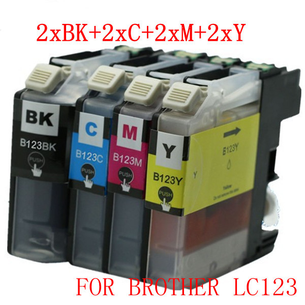 8PCS 2 SETS OF LC123 with Upgraded chip  compatible ink cartridge for brother  J4510DW J4410DW J4610 J4710 J4110DW printer<br><br>Aliexpress