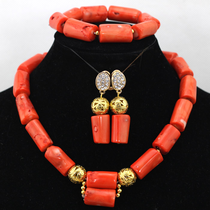 Pretty Coral Pendant Necklace Set 18K Gold Plated Wedding African Jewelry Set Bride Gift Free Shipping CNR443(China (Mainland))