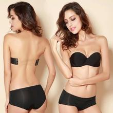 Nude Black Invisible Blade Strapless Tape Bras Sexy push up 3 breasted Bras(China (Mainland))