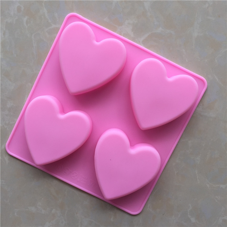 4 even heart shaped handmade soap mold silicone mold love ...