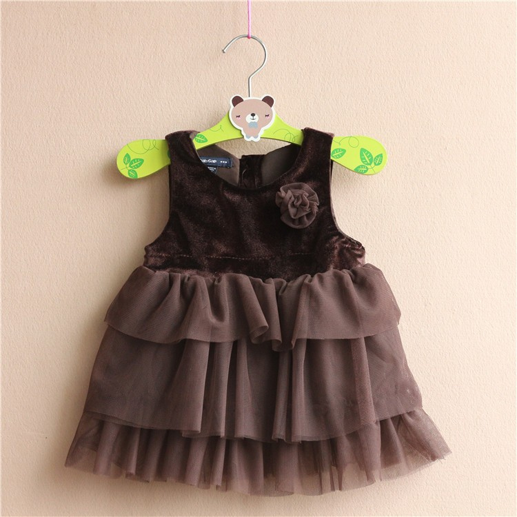 Free Shipping 5 Sets/lot 3M-24M Baby Baby Girl Dress infant Little Princess Flower Velvet dress Layers High quality Super Nice<br><br>Aliexpress