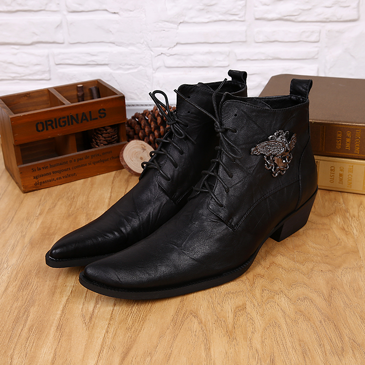 2015 size 37~46 Handmade Genuine Leather autumn boots,plus size men winter shoes, ankle motorcycle boots for men