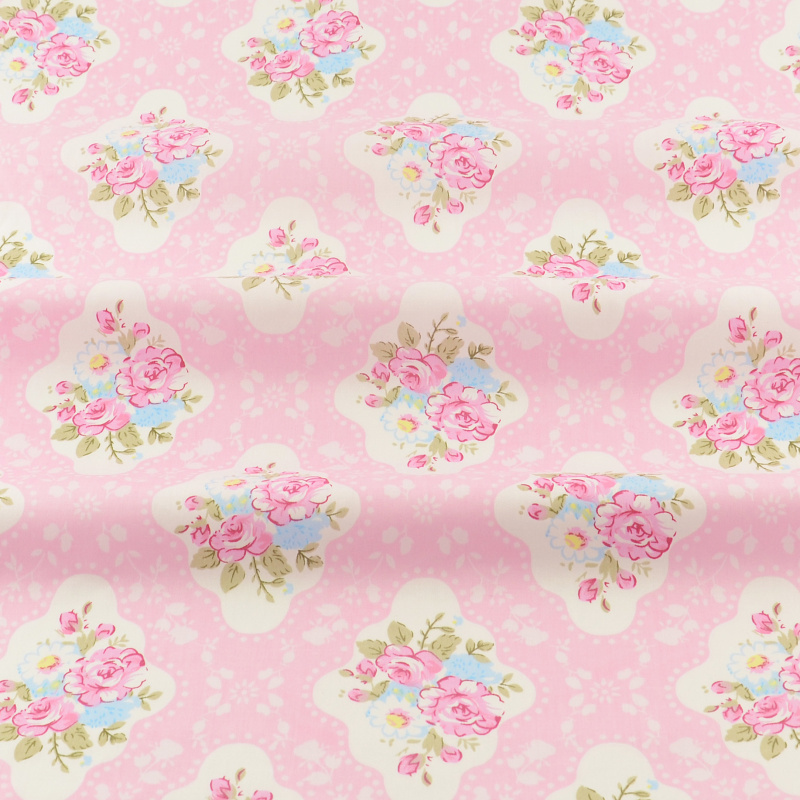 New Arrivals Cloth Cotton Tecido Decoration Sewing Bedding Tela Textile Fabric Quilting Patchwork Pink Printed Flowers Designs(China (Mainland))