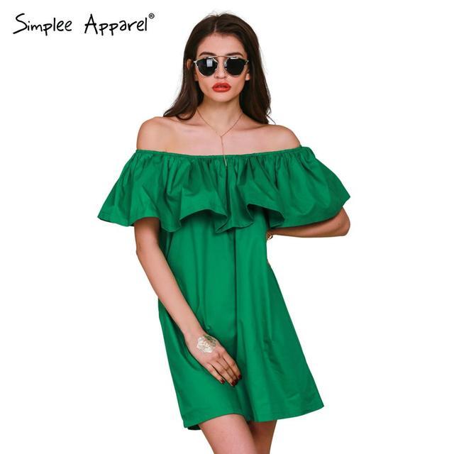 Simplee одежды оборками слэш шею женщины летнее платье в стиле с плеча сексуальные dresses vestidos белый трубка пляжа хлопка