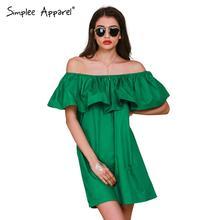Simplee ropa de slash volantes cuello mujeres se visten de verano estilo sexy hombro off vestidos vestidos blanco tube dress beach algodón