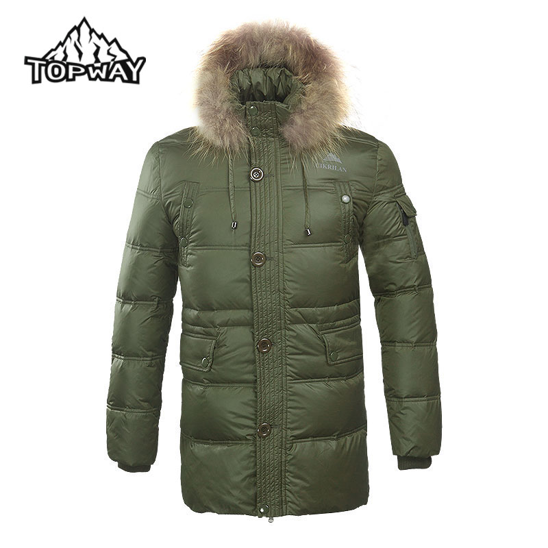 2016 New winter Men real fur thick duck jacket warm waterproof windstopper outdoors sportswear 2 COLOR long parka coat - Topway Outdoor Products Co.,Ltd store