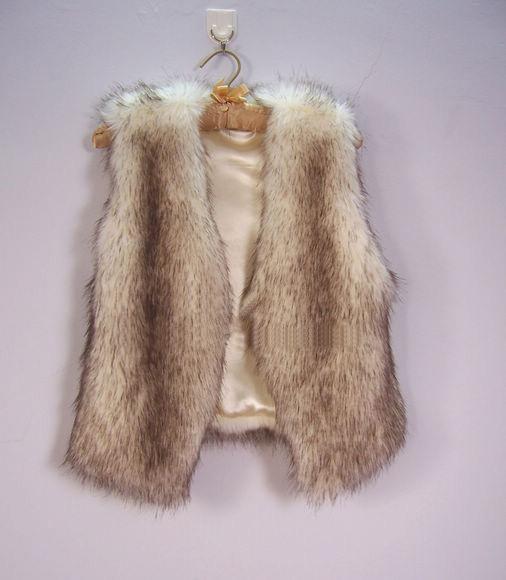 Autumn & Winter Women's plush faux fur vest short Style V-collar False Fur Vest Free Shipping