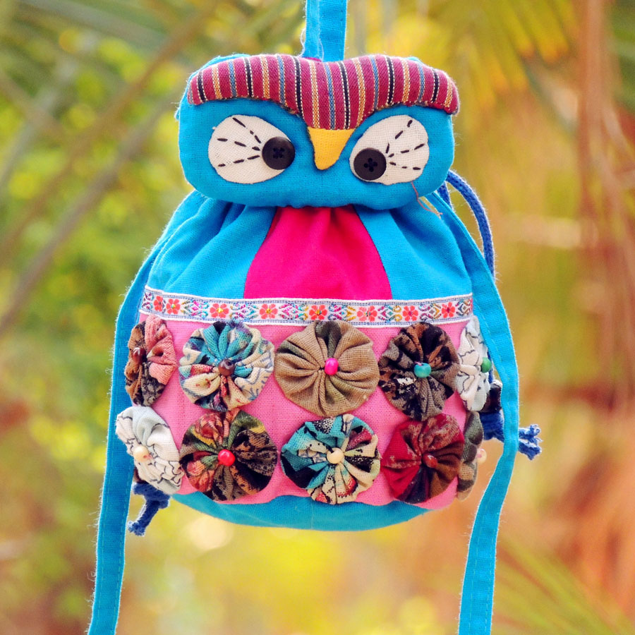 National dongba cloth cross-body dual-use portable cartoon small flower owl bucket bag - lilac wei's store