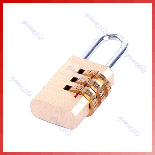 E74  2pcs/lot Mini 3 Digit Resettable Combination Luggage Suitcase Lock Padlock Gold Free Shipping<br><br>Aliexpress
