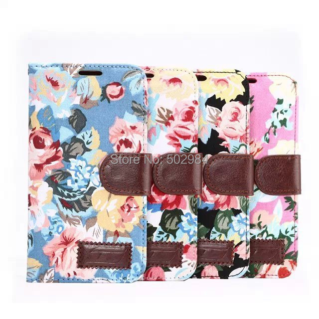 Flowers Gyrosigma Fip Wallet Leather Case Samsung Galaxy S6 Project Zero G9200 G920A Cover PU Flower Jean Cloth Card Slot - World Business Partner store