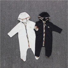 Wholesale European and American style infant kid's jumpsuit baby girl boy spring summer long-sleeved hooded footies(China (Mainland))
